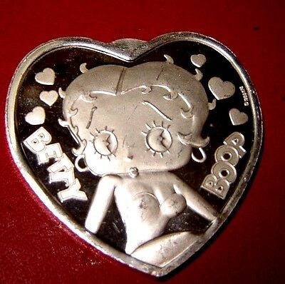 Betty Boop Heart Shaped Silver Collectible 1 oz .999 fine silverMINT Condition