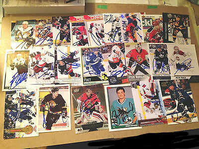 Lot of 300 SIGNED NHL CHL cards ITG PRODUCTS ++ HENRI RICHARD JOHNNY BOWER DUFF