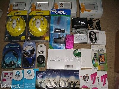 JOB LOT MOBILE PHONE ACCESSORIES + 6 NEW BLUETOOTH HEADSETS Charger USB Sim Card