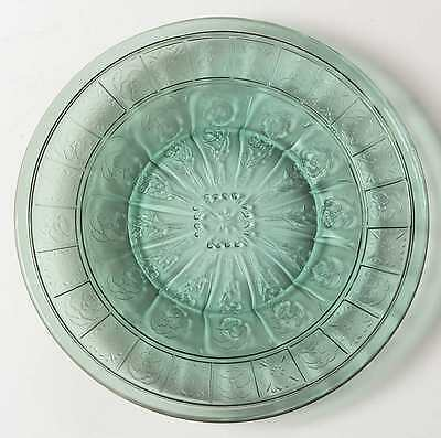 Jeannette Glass DORIC AND PANSY TEAL GREEN Child's Plate 3638544