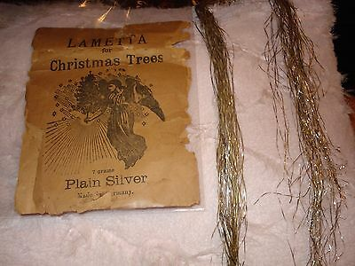 VTG ANTIQUE LAMETTA GARLAND FOR CHRISTMAS TREES GERMAN GOLD SILVER PUTZ in PACK