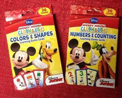 2 Packs Mickey Mouse Clubhouse Flash Cards -Colors & Shapes - Numbers & Counting