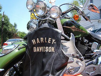 HARLEY DAVIDSON LEATHER VEST 100th ANNIVERSARY WOMENS LADY LARGE SPRINGER DYNA