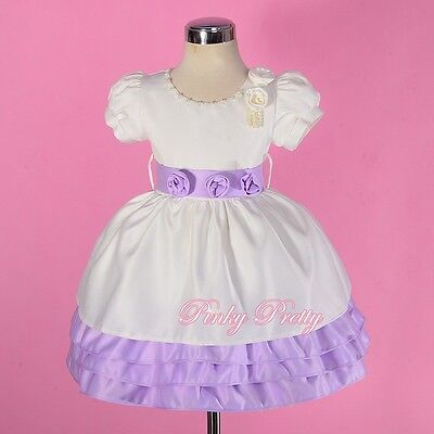 Cream Pearls Satin Dress Wedding Flower Girl Birthday Size 9Months-4Years FG259