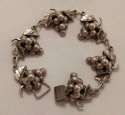 Vintage Taxco Mexico Sterling Silver Grapes Bracelet