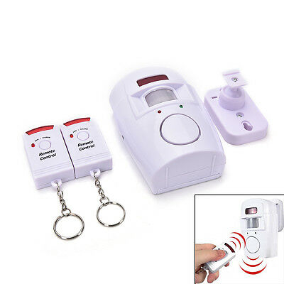 105dB Motion Sensor Detector Alarm Wireless IR Infrared Remote Home Security HU