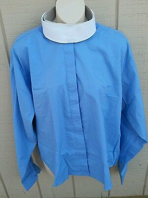 NEW RIDERS MARK SZ 42 Long Sleeve Vented Ratcatcher Shirt Blue w/White Collars