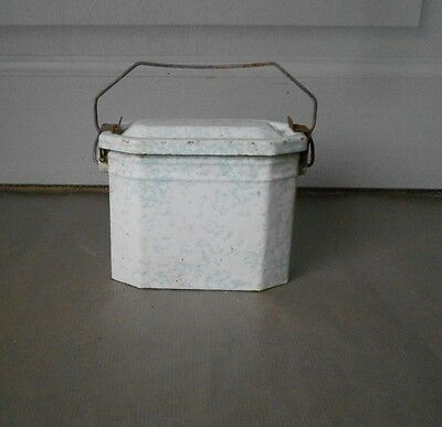 OLD French Enamel Graniteware LUNCH PAIL LUNCH BOX  White & Green color