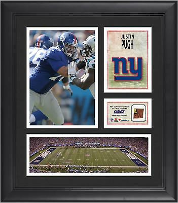 """Justin Pugh New York Giants Framed 15"""" x 17"""" Collage with Game-Used Football"""