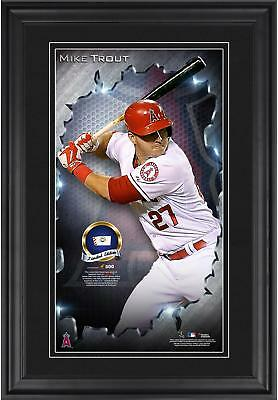 Mike Trout MLB Angels Framed 10'' x 18'' Vertical Photo Fanatics Authentic COA