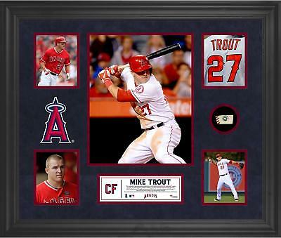 Mike Trout MLB LA Angels of Anaheim Framed 5-Photo Collage with Game Ball Piece