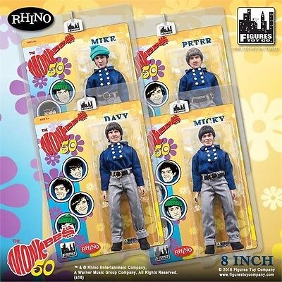 THE MONKEES 8 INCH ACTION FIGURE SET OF 4 in BLUE BAND OUTFITS