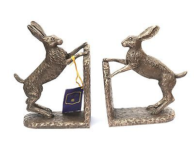 Hare large Resin Bronze Bookends Sculpture Shooting Gift or present