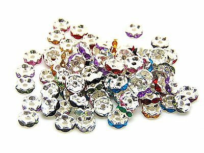 80 x 8mm Silver Plated Mix Stone Spacer Beads Jewellery Craft Beading O147