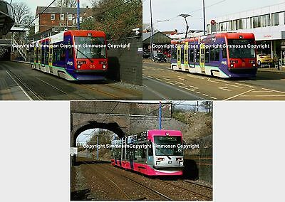 7x5in GLOSSY TRAMWAY PHOTOGRAPHS X 3 - MIDLAND METRO TRAMS 04, 07 & 16
