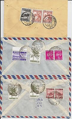 Temporary PO postmarks on six 1970s Bangladesh commercial covers to Scotland