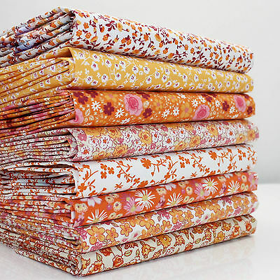 8 X FQ BUNDLE SWEETHEART SMALL FLORAL YELLOW ORANGE florals 100% COTTON FABRIC