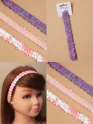 Pack Of 6 Child Size Sequin Stretch Bandeaux, Headband : Sp-6523 Pk6