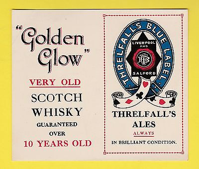 Advertising - Threlfall's Stout + Golden Glow Whisky Advertising  /  Whist  Card