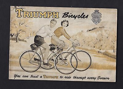 TRIUMPH BICYCLES ?1950s ORIGINAL BICYCLE CATALOGUE BROCHURE WITH PRICES RARE