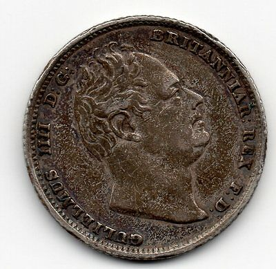 1834 William IV Sterling Silver Sixpence 6D Coin High Grade
