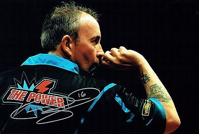 Phil The Power TAYLOR Signed Autograph 16 Darts Champion 12x8 Photo C AFTAL COA