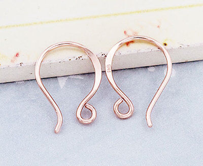 925 Sterling Silver Rose Gold  Vermeil Style  2 Pairs of Earwires 12x17 mm.