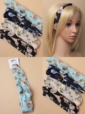 Pack Of 4 Floral Print Chiffon Headwrap/bandeaux With Link Design : Sp-6510 Pk4