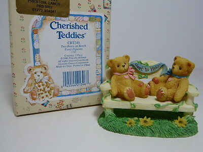 Cherished Teddies CRT240 Two Bears On A Bench Event Figurine Enesco Boxed