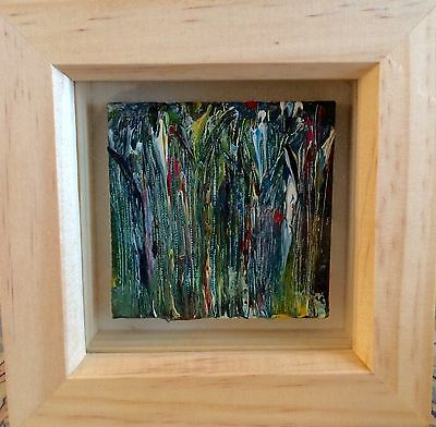 WOODLAND NIGHT ORIGINAL MINI CANVAS ACRYLIC PAINTING FRAMED 12x12CM