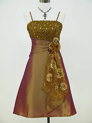 Cherlone Gold Prom Party Ball Evening Wedding Bridesmaid Formal Dress Size 12-14