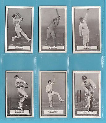 Cricket - Gallaher Ltd. -  6  Famous  Cricketer  Cards  -  Yorkshire  -  1926