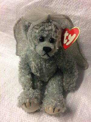 Ty Beanie Babies Bear- Sterling -the Attic Collection- Silver Bear With Wings