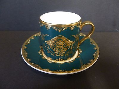Minton Coffee Cup And Saucer Extremely Rare Green/gold