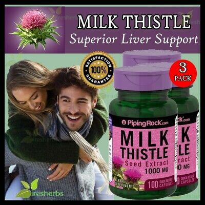 Milk Thistle Seed Extract 1000 Mg Herbal Supplement 300 Capsules 3 Bottles Lot