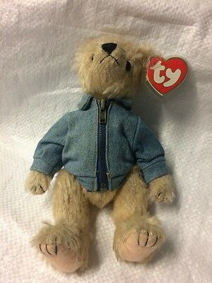 Ty Beanie Babies Bear- Logan the Attic Collection-Denim Jacket And Canadian Flag