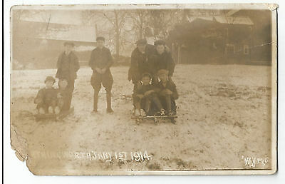 Unknown Location ???orthingworth Snow Social History Real Photo Vintage PC 6.1