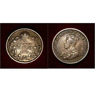 Sterling Silver Old  Canada 1913 5 Cents .925 Silver Nice Coin**