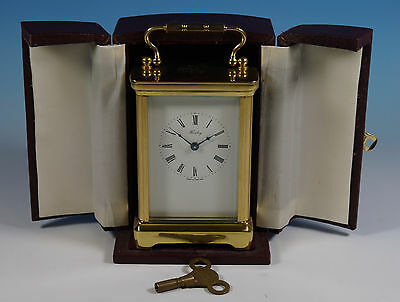 Henley England Gilt Brass & Glass Carriage Clock in Original Case Working Order