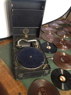 Vocalion De-Luxe Wind Up Gramophone - Working with 78s collection    #556