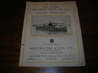 RARE 1928  MERRYWEATHER & Son FIRE BOAT BROCHURE original  ( NOT a Reprint )