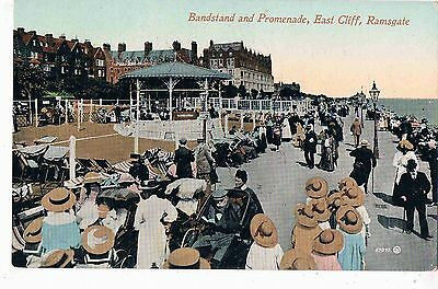 KENT - CPC - THE BANDSTAND AND PROMENADE, EAST CLIFF, RAMSGATE, c1908