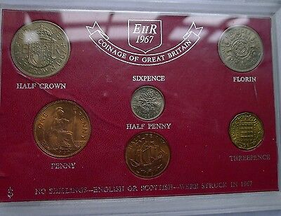 1967 Uncirculated Set of all Issued coins Halfpenny to Halfcrown on Card