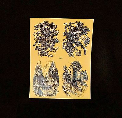 Vintage Meyercord Transfer Decals - RC9 Blue Toiles