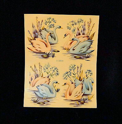 Vintage Meyercord Transfer Decals - X320B Pink & Turquoise Swans