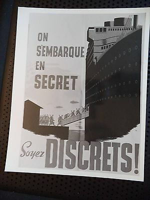 "Vintage B&W Photo Canadian Navy WWII Poster ""On S'embarque En Secret"" Propaganda"