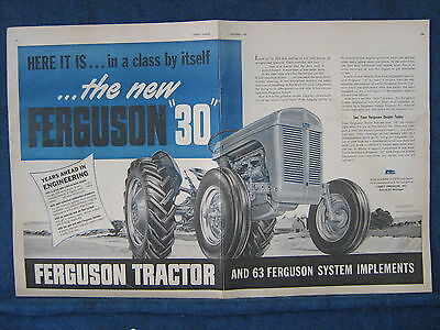 1951 or 1952 Ferguson 30 Tractor - Double Pg Ad - Nice Full View of Tractor