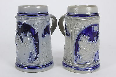 """2 Cobalt Blue Pottery Beer Steins Marked 'Germany' 18 Oz 6"""" Tall No Lids"""