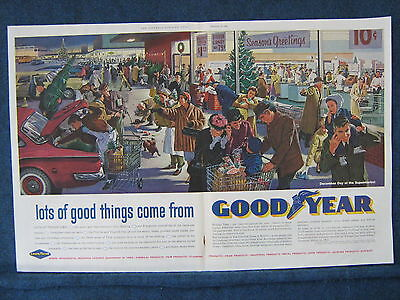 Christmas Shopping Scene -  1960 Goodyear 2 Pg Ad - Lots of Excitement & Humor