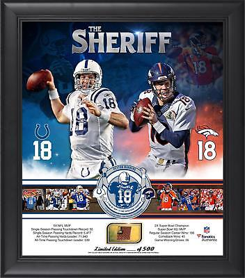 Peyton Manning Broncos/Colts Framed 15x17 Retirement Collage & Game-Used Ball